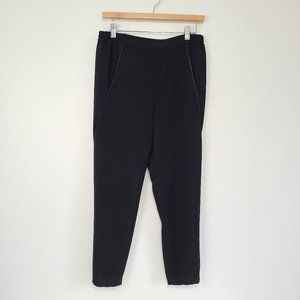 Vince Satin Piped Wrap Seam Pant Black High Rise